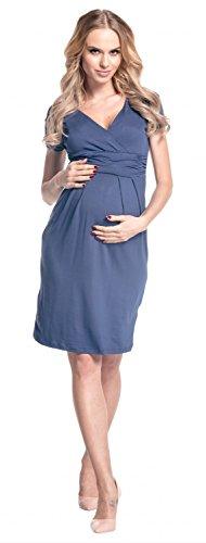 Happy Mama Damen Umstands Kleid Passt In Allen Phasen Der Schwangerschaft 573p Blau Grau