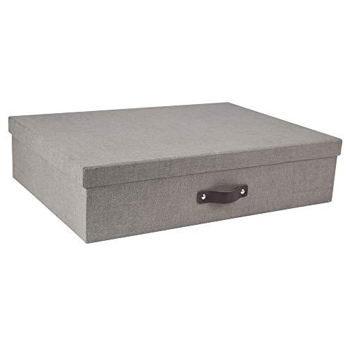 Bigso Jakob Canvas Papier Laminat Box mit 12Unterteilern grau - Datei Laminat