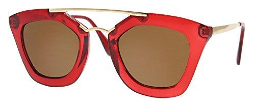 Cheapass Sonnenbrille Groß Rund Rot Designer Brille UV400 Frauen Damen