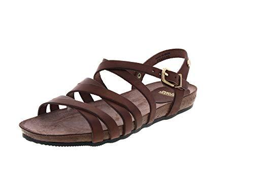 Fred de la Bretoniere Damen Cork Footbed 2 cm NAT.Leather Peeptoe Sandalen Braun (Dark Brown 3056), 40 EU -
