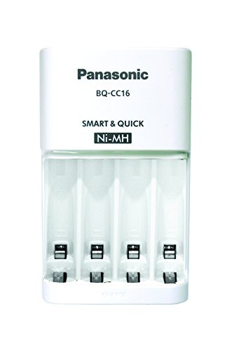 Panasonic BQ-CC16 eneloop Battery Charger with 4 LED Charge Indicator Lights, White