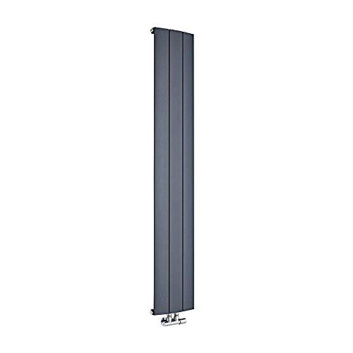 Hudson Reed Aurora Termosifone Termoarredo Verticale – Attacchi Centrali – Radiatore di Design in Alluminio – Antracite Grigio Scuro – 1021W – 1600 x 280 mm – Riscaldamento Efficiente