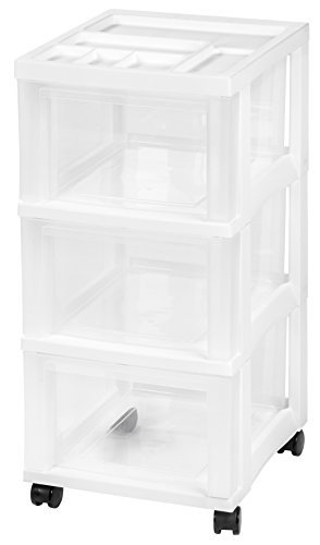 IRIS 3-Drawer Storage Rolling Cart with Organizer Top, White by IRIS USA, Inc. -