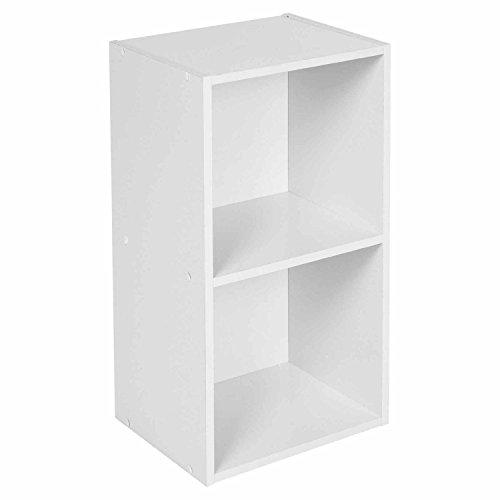 Sabar Holz Bücherregal-Regal Würfel (oder 2, 3, 4Etagen)-Holz-Regale-stapelbar-freistehend, weiß, 2 Ablagefächer