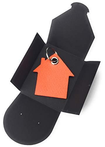 sselanhänger aus Filz - Haus - orange - als besonderes Geschenk mit Öse und Schlüsselring - Made-in-Germany ()