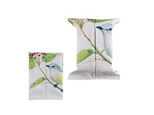 Gwanna Tissue Box Hülle Netter Vogel Muster Baumwolle Leinen Tissue Box Papier Pump Box für Home Utility (weiß) - Serviettenhalter Vögel