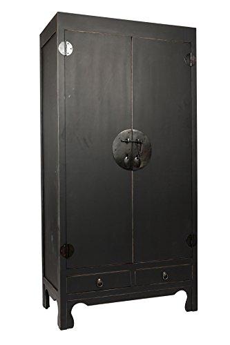 SAM® Hochzeitsschrank Mian aus Mahagoni, schwarz lackiert - mit 2 Türen + Schubladen - Design-Dielenschrank aus Massivholz, Unikat