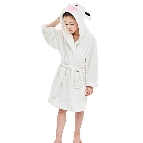 MICHLEY Kinder Bademäntel Soft Flanell Tier Kapuzen Nachtwäsche Jungen Mädchen Robe Weiße 3-5 Jahre (White Ohren Tiger)