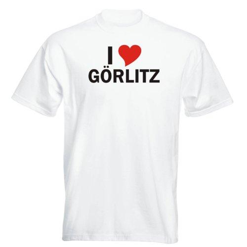 T-Shirt mit Städtenamen - i Love Görlitz - Herren - unisex Weiß