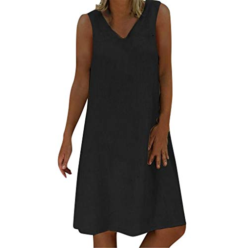 EUCoo Damen Leinen Kleid Sommer tropischen Stil Volltonfarbe Ärmellos V-Ausschnitt beiläufige lose Hemdkleid (Dot Kleider Plus Size Polka)