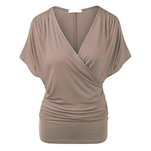 Vimoli Blusen Damen V-Ausschnitt T-Shirt Kurzarm Batwing Fledermaus Sommer Shirt Tunika Bluse Plus Size Solide Tops(B Kaffee,De-44/CN-XL) -