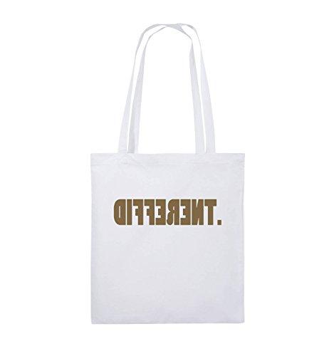Comedy Bags - DIFFERENT - gespiegelt - Jutebeutel - lange Henkel - 38x42cm - Farbe: Schwarz / Silber Weiss / Hellbraun