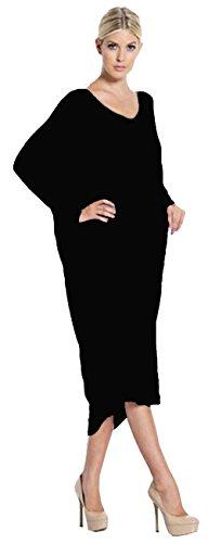ALAIX Hem vestito da autunno manica lunga allentata irregolare delle donne Nero