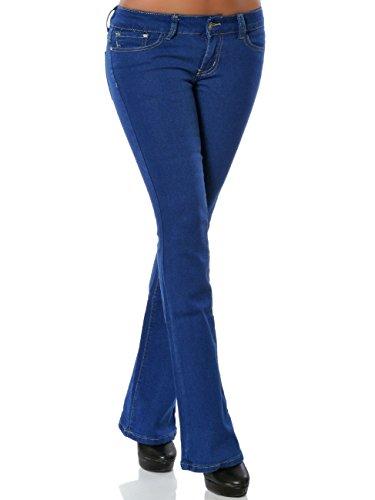 Damen Boot-Cut Jeans Jeanshose Schlaghose Stretch No 15845, Farbe:Blau, Größe:M / 38 (Fit-bootcut-stretch-jeans)