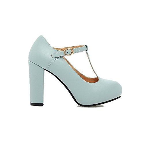 VogueZone009 Femme Matière Souple Rond à Talon Haut Boucle Couleur Unie Chaussures Légeres Bleu