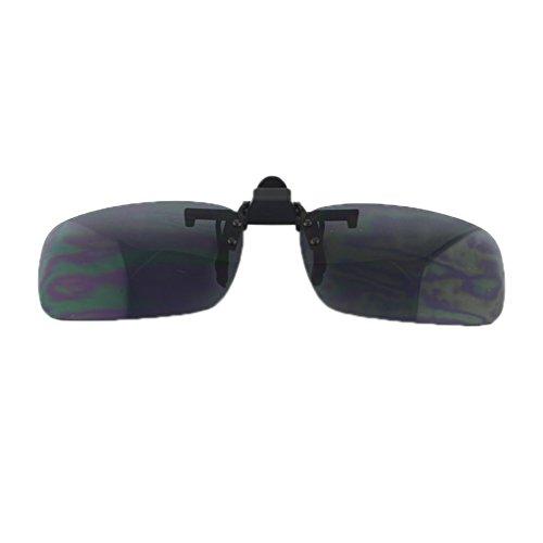 QHGstore Polarized Driving Clip-On Flip-Up Lens degli occhiali da sole di grande formato per uso quotidiano + + lente grigio