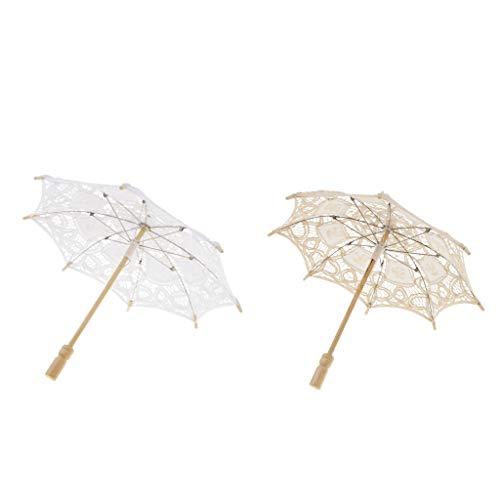 KESOTO 2stk. Bestickter Spitzeschirm Sonnenschirm Tanz Schirm Kostüm Zubehör für Jede Anlässe