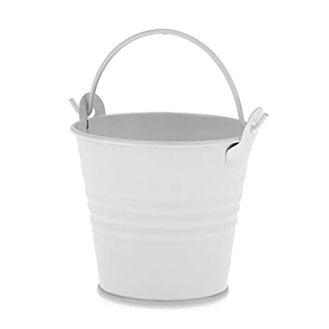 Sharplace Lovely Small Metal Bucket Candy Box Pails Flower Planter Party Favor White - L