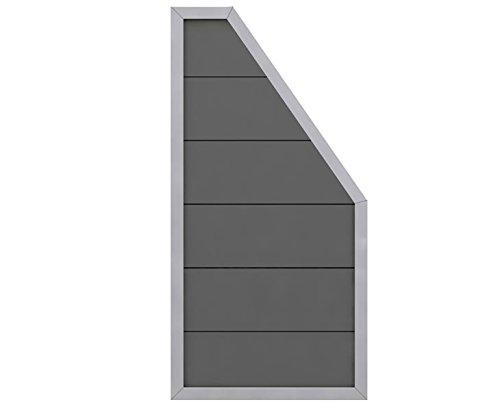 Design Abschluss WPC Sichtschutz Element anthrazit Alu mit 180/90x90cm – Sichtschutzzäune Sichtschutzwand Gartensichtschutz Balkonsichtschutz Winschutz Sichtschutzwand für Garten