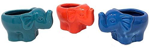 Transpac Mini-Elefanten-Pflanzgefäß, Keramik, kleine Sukkulenten, Kakteen Luft, dekorative Pflanzen, drinnen und draußen, 3er-Set (Pflanzen Zoll Die Keramik-töpfe Für 4)