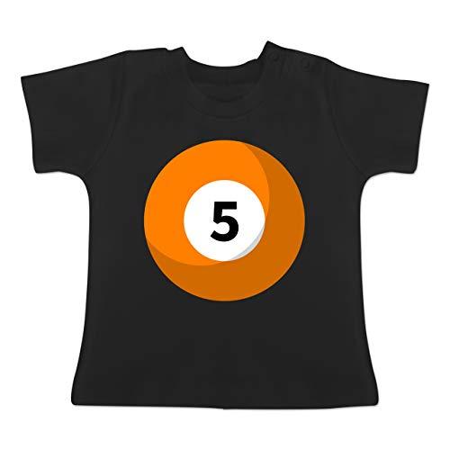 Karneval und Fasching Baby - Billardkugel 5 Kostüm - 3-6 Monate - Schwarz - BZ02 - Baby T-Shirt Kurzarm
