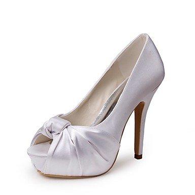 Wuyulunbi@ Scarpe donna seta Primavera Estate della pompa base scarpe matrimonio Stiletto Heel Peep toe fiore satinata per la festa di nozze & Evening White Bianco