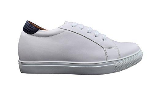 Zerimar Sport Chaussures Avec Ascenseur Interne Pour Les Hommes Augmentation De 6 Cm En Cuir De Haute Qualité Blanc-tan