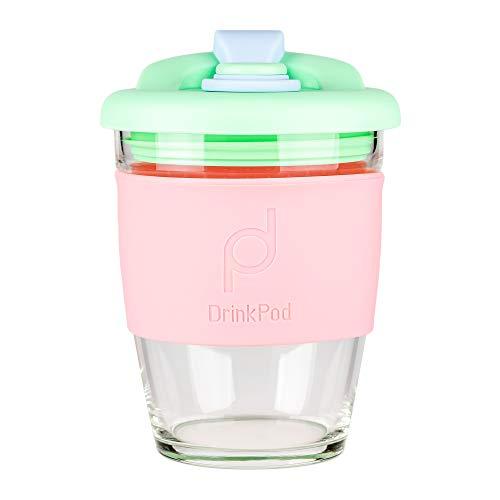 DrinkPod wiederverwendbarer BPA-frei 340 ml 12 oz Kaffeebecher / Reisetasse aus Glas - GREEN DREAM, GRÜN