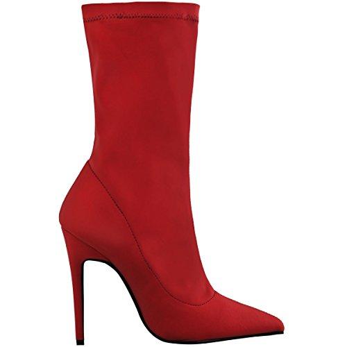 donna stivali caviglia donna stretch lycra stiletto tacchi alti a Punta SCARPE rosso brillante LYCRA