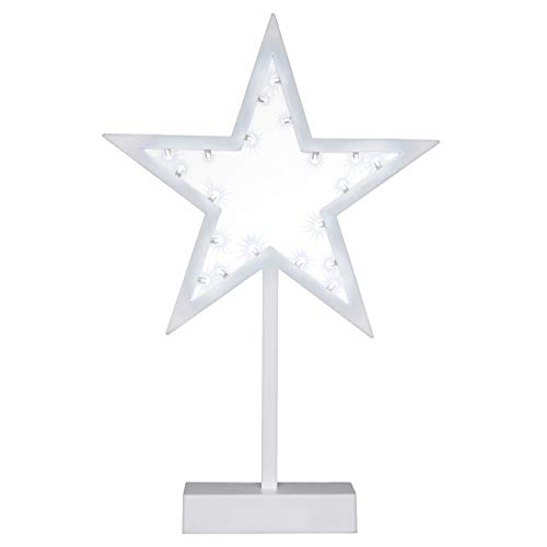 20 LED Dekoleuchte Stern kaltweiß Rahmen weiß Batterie Höhe 38,5 cm Lichterstern Dekostern Weihnachtsdeko Standleuchte Tischleuchte Stimmungsleuchte Weihnachtsstern mit Sockel Schutzklasse IP20 Xmas