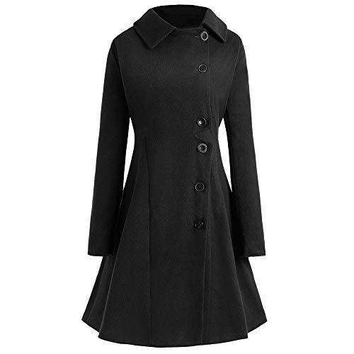 Gaodaweian Plus Size geknöpft Langen Mantel Mantel Single Button Floral Langen Mantel kragenlose vorne offen Lange Blazer Turndown (Color : Schwarz, Size : 2X) - 2x ärmel Lange