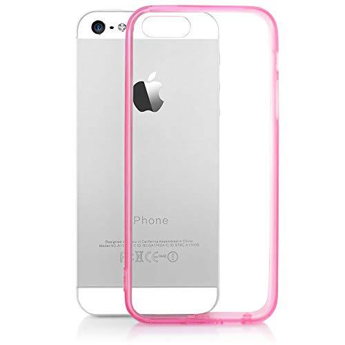 NALIA Handyhülle kompatibel mit iPhone SE 5 5S, Durchsichtiges Slim Silikon Case mit Transparenter Rückseite & Bumper, Crystal Schutz-Hülle Etui Dünn, Handy-Tasche Back-Cover - Transparent/Pink Pink Handy Cover
