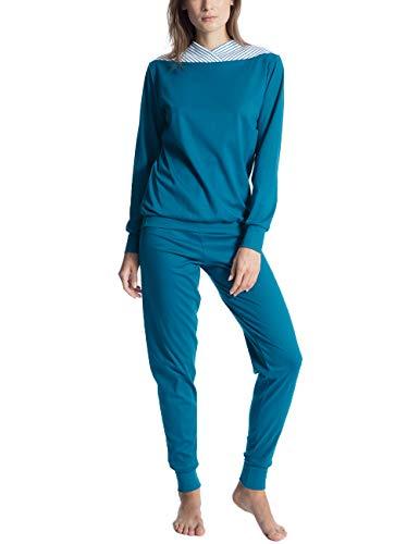 Calida Damen Zweiteiliger Schlafanzug Soft Cotton 43100, Einfarbig, Gr. Large, Blau (Faience Blue 507) -