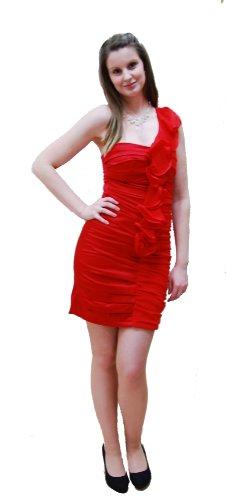 Etuikleid figurbetontes Cocktailkleid mit Rüschen-Verzierung one Shoulder Rot