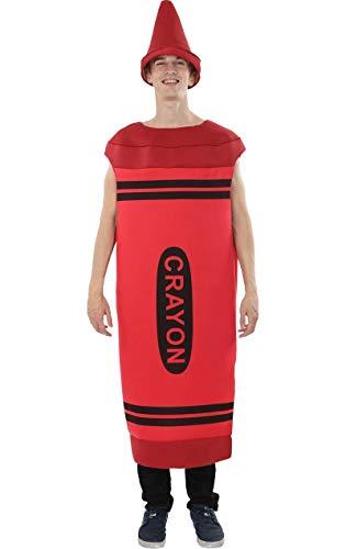 Kostüm Crayola Red Crayon - Herren Rot Crayon Färbung Color Gruppe Junggesellenabschied Kostüm