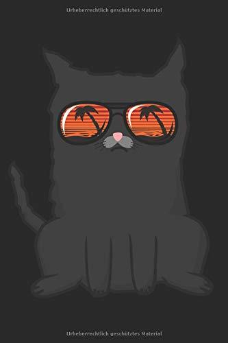 Notizen: Notizbuch mit Katze mit Sonnenbrille, Kätzchen mir Brille, 120 Seiten, punktiert, 6*9