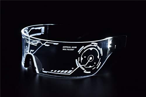 Cyberpunk Sonnenbrille mit LED-Beleuchtung, perfekt für Cosplay und Festivals, Cybergoth weiß