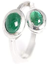 Emeralds Bazar Love Forever Oval Shape Rice Natural Emerald Ring 925 Sterling Silver Handmade Jewellery For Women...