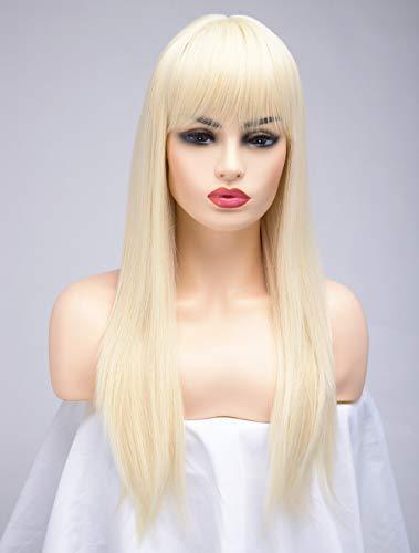 BESTUNG Lange Gerade Asche Blonde Perücken für Frauen Damen Synthetisches Volles Haar Natürliches Licht Honig Erdbeer Gold Perücke mit Pony für Cosplay Kostüm oder Alltag(EINWEG)