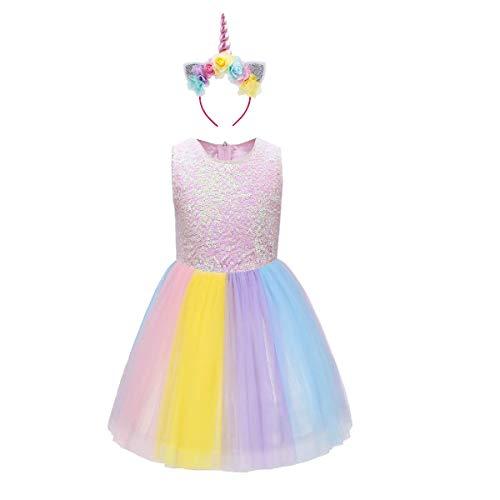(OBEEII Mädchen Einhorn Kostüm Cosplay Kleid Party Outfit Kostüm Prinzessin Tutu Rock für Festival Performance Geburtstag Karneval Halloween Fotoshooting für Kinder Jugendliche 2-3 Jahre)
