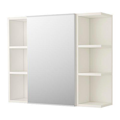 Ikea lillången Armario con espejo con una puerta y cierre de 2estanterías; en color blanco