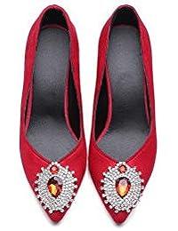 Beauqueen Bombas Mujeres Primavera Y Verano De Tacón Alto Vintage Suede Femenino Banquete Verde Negro Rojo Zapatos Casual Europa Tamaño 32-43 , red , 37