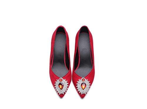 Beauqueen Pompe delle donne di estate e tacco alto Vintage Suede femminile banchetti Green Black Red Shoes Casual FORMATO 32-43 Green