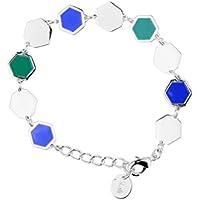 Skalli la06 Va, colore: verde e blu, modello L'Andalouse-Cinturino a catenina da donna, in ottone e resina, lunghezza: 15 cm