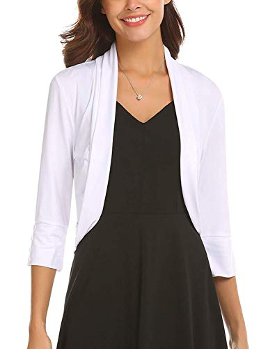 Parabler Damen Herbst Strickjacke Cardigan Kurze Offene Blazer Bolero Jacke Mantel Pullover Tops (A+Weiß, EU 38/ M) Pullover Jacke Mantel