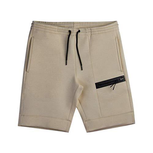 Cargo Shorts Herren Chino Kurze Hose Sommer Bermuda Sport Jogging Training Stretch Shorts Fitness Vintage Regular Qmber,Lose Shorts mit festem Reißverschluss/Khaki,L