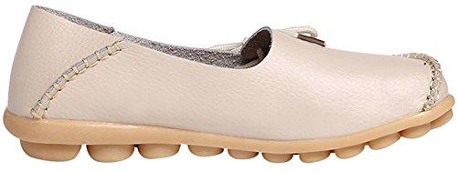 Scarpe da cuoio da donna in pelle Scarpe casual piatte in guida di sneaker in mocassini bianca