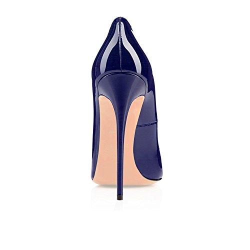 Zapatos De Tacón Alto Edefs Classic Para Mujer Zapatos De Tacón Alto Con Abertura En Frente De Un Zapato Azul Marino
