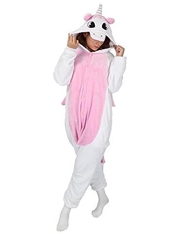 Tier Karton Kostüm Einhorn PyjamaTierkostüme Jumpsuit Erwachsene Schlafanzug Unisex Cosplay (Rosa Einhorn-kostüm)