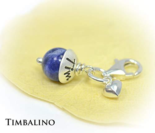 Perlen Charm Anhänger mit Gravur Namen und Karabiner aus 925 Sterling Silber. Charm Anhänger mit Namensgravur. (Charms Namen)